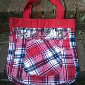 NWT Aeropostale Plaid Fabric Tote Bag